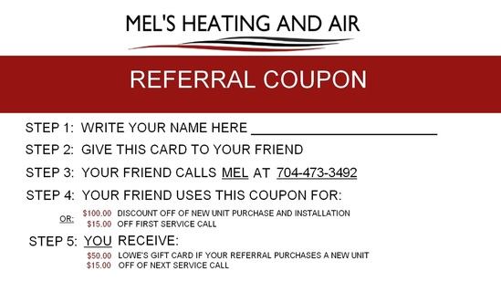 Referral Coupon Mel's Heating and Air